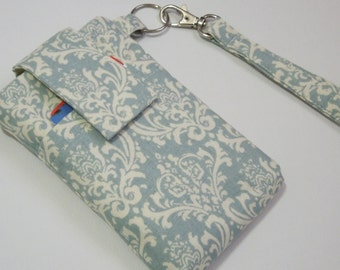 WRISTLET Cell phone case bag, travel case purse for mobile phone or any other wireless electronics case holder - blue grey Damask