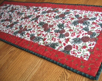 Quilted Table Runner with Pinecones and Red Berries