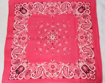 Vintage Pink Bandana, Color Fast, Cotton, Made in USA, 1970's