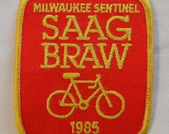 Vintage Bike Patch Milwaukee Journal SAAGBRAW 1985 Bicycle Tour Patch