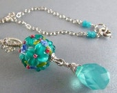 BIGGEST SALE EVER Aqua Blue Lampwork Bead and Gemstone Wire Wrapped Necklace