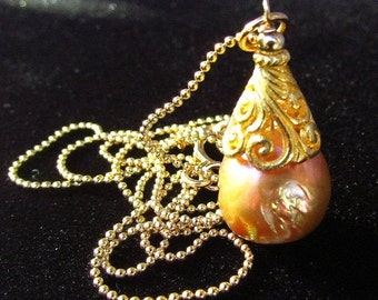 End Of Summer Sale Golden Kasumi Like Pearl and Gold Filled Necklace