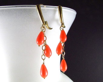 Coral and Gold Filled Dangle Earrings