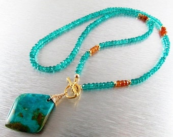 BIGGEST SALE EVER Peruvian Opal and Teal Quartz Gold Filled Necklace