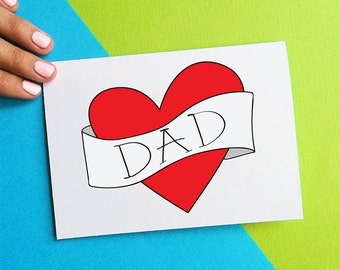 valentine card for dad birthday card vintage inspired heart valentines day card retro tattoo card funny fathers day card red black white