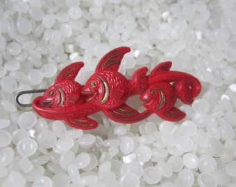 vintage hair barrette three red fish