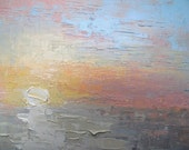 """Seascape Sunset Painting, Small Oil Painting, Daily Painting, Impasto Painting, 6x8"""" Seascape"""