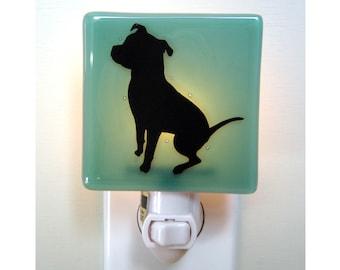Dog Night Light - Fused Glass Night Light - Sea Green