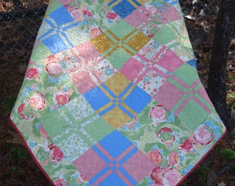 Pink Green Blue and Gold Lap Baby Quilt