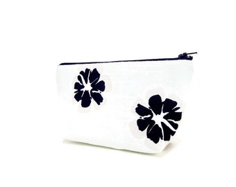 Fabric Zipper Pouch, Floral Zipper Pouch, Floral Pencil Case, Pouch, Cosmetic bag, Zipper Case, Fabric Zipper Case, Toiletry Bag, Mint Pouch