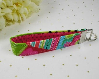 Key Fob Wristlet, Fabric Key Chain, Wrist Key Chain ..Pink Patchwork Pop