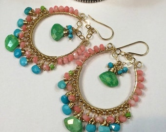 SUMMER SALE Colorful Hoop Earring Sleeping Beauty Green Turquoise Coral Gold Fill Wire Wrap Luxury Gem Chandelier Earring Handmade Bohemian