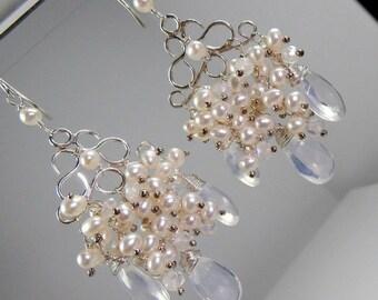 20% SALE Bridal Jewelry Handmade Wedding Chandelier Earrings Wire Wrap Pearls Sterling Silver Pearl Cluster Chandelier Earrings