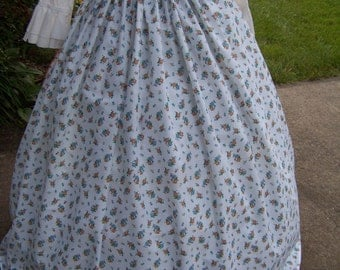 Child's Colonial,Civil War,Victorian,costume Long SKIRT one size fit all  White with blue and peach flowers
