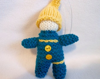 Gnome Ornament Hand Knitted in Dark Teal and Gold, Tree Ornament, Little Gnome, Home Decor, Christmas Ornament, Christmas Decoration