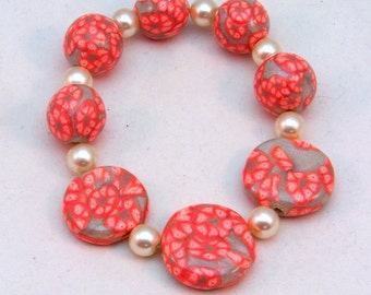 Tangerine Boho Bracelet | Tangerine Layering Bracelet | Orange Floral Bracelet | Polymer Clay Stretch Bracelet | Beaded Stretch Bracelet