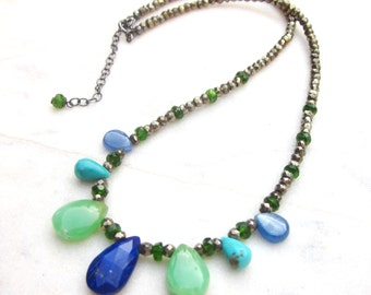 Modern gemstone briolette choker necklace, chrysoprase, lapis lazuli, turquoise, kyanite, chrome diopside & pyrite chic multi stone necklace