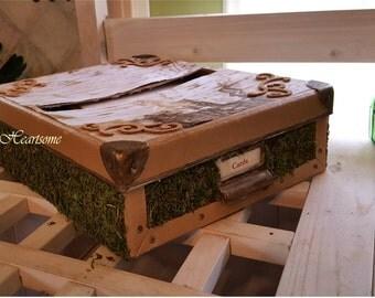 Wedding card box birch moss woodland rustic primitive OOAK one of a kind