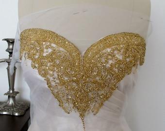 Gold Rhinestone Applique for Sweetheart Neckline Crystal Neck Applique