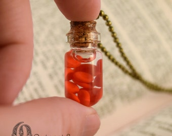 Red Blood Cells Glass Bottle Necklace