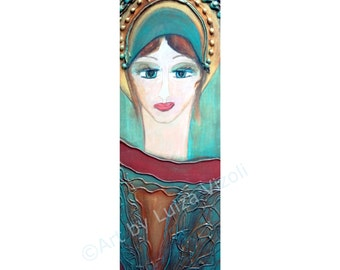 European Folk Art Angel Icon on Wood Original Modern Religious Girl Painting