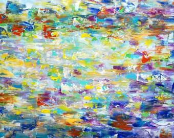 Abstract Original Painting SUMMER RAIN Impasto Art on Minimalist Canvas by Luiza Vizoli