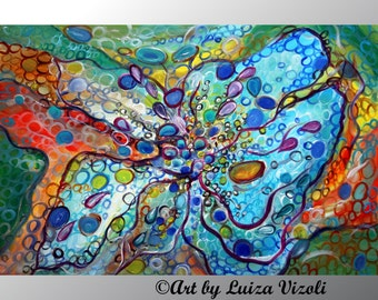 Abstract Painting WINGS of HAPPINESS Original Whimsical Floral Artwork on Large Canvas