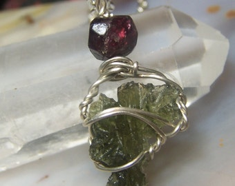 Besednice Moldavite and Garnet crystal necklace pendant - Sterling Silver wire wrap small green red stone specimen genuine - Czech ii3s