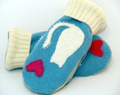 Cat Mittens from Felted Sweater Light Blue and White Cat Applique Leather Palm Fleece Lining Eco Friendly Size S/M