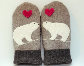 Ucycled Polar Bear Mittens Felted Wool Grey and White with Applique and Leather Palm Eco Friendly Upcycled  Size M