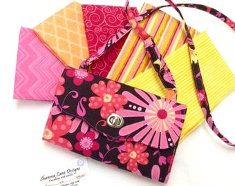 made to order wallet with crossbody strap, YOU CHOOSE FABRIC wallet, small purse, cell phone wallet, crossbody purse, small handbag