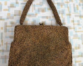 1950s New Old Stock Walborg Bronze Beaded Evening Bag - Original Box - NOS
