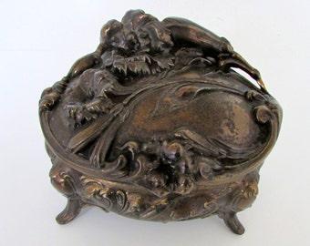 Victorian Jewelry Casket Box Large Art Nouveau Jewelry Box Antique Jewelry Trinket Casket Box Gold Roses