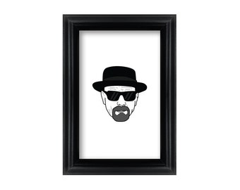 4 x 6 Framed Heisenberg / Walter White / Breaking Bad Portrait