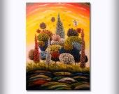 mid century abstract tree painting bird painting cloud nature yellow sky red sunset 24 x 36 original illustration art Mattsart