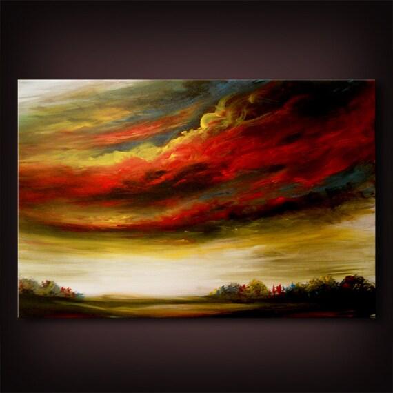 "large art acrylic painting 36"" tree painting original art abstract wall art canvas landscape home decor acrylic Mattsart"
