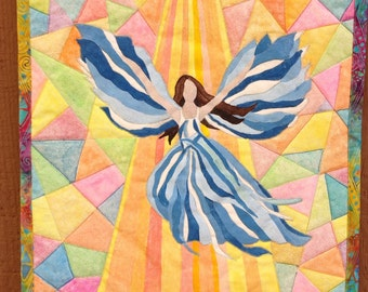 Quilted Wall Hanging, Quilted Angel, Fiber Art Decor, Painted Angel, Stained Glass Paint, Handpainted Quilt, Fabric Art, Inspirational Gift