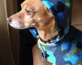 Fleece Dog Coat, Small Fleece Dog Coat, Blue Camouflage Fleece Dog Coat, Hooded and Belted Dog coat, Fleece and Flannel Dog Coat, Camouflage