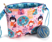 Large Knitting Crochet Project Bag Clutch *With Yarn Guide* - Cherry Blossom