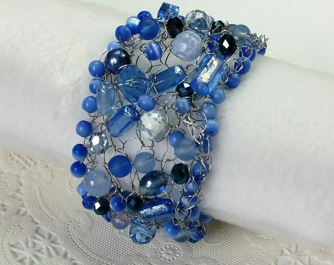 Shades of Blue Wire Crocheted Cuff Bracelet with Crystal, Quartz, Cats Eye and More