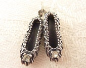 Vintage Beau Sterling and Rhinestone Ballet Slippers Charm