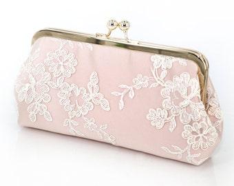 Alencon Lace Bridal Bridesmaids Clutch in Blush Pink  | Bridesmaids Gift | Wedding Gift