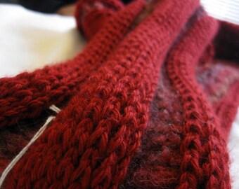 Infinity Cowl Scarf, Soft Crochet Lump Row, Burgundy