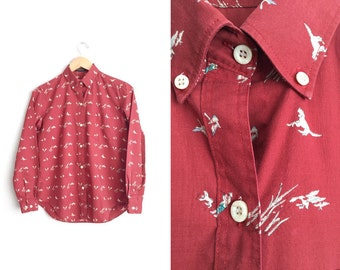 Size M // HUNTING PRINT OXFORD // Brick Red - Long Sleeve Button-Up Shirt - Novelty Print - Dogs - Ducks - Vintage '80s.