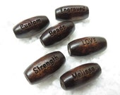 16 x 7 mm - Dark Brown Wood Oval Melon Shaped Beads - Custom Laser Engraved - PERSONALIZED