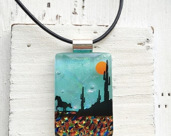 Southwest - Horses - Fused Glass Jewelry - Dichroic Necklace - Fused Glass Pendant - Dichroic Glass Necklace- Fused Dichroic Glass Jewelry