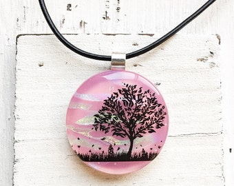 Salmon Pink - Tree - Fused Glass Jewelry - Dichroic Necklace - Fused Glass Pendant - Dichroic Glass Necklace- Fused Dichroic Glass Jewelry