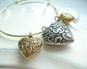 Love, Love, Love Heart Trio Bangle Bracelet Gold Plate and Silver Plate