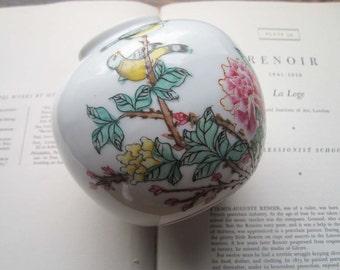 Vintage Neiman Marcus Vase * Hand Painted Porcelain Flower Vase * Ginger Jar Shape Vase * Blossoms and Birds * Vtg Designer Home Decor
