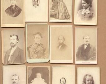 12 Different Antique CDV Photographs 1860-1880 Men Women Children  Historic Lot75